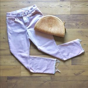 Pale Pink Distressed Straight Denim Sz 4 Old Navy